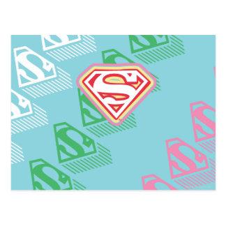 Supergirl Pastel  Repeat Pattern Postcard