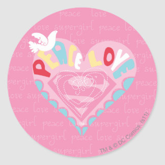 Supergirl Peace and Love Pink Sticker