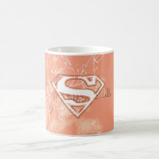 Supergirl Peach Floral Pattern Classic White Coffee Mug
