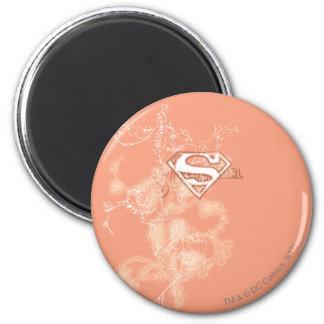 Supergirl Peach Floral Pattern Magnet