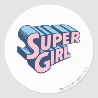 Supergirl Pink and Blue Logo Classic Round Sticker