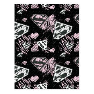 Supergirl Pink and White Logo Pattern Postcard