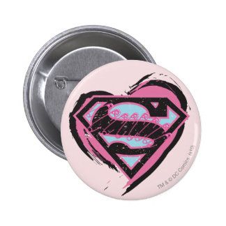 Supergirl Pink Logo in Heart Button