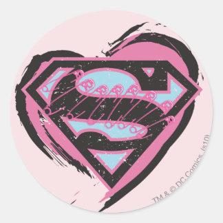 Supergirl Pink Logo in Heart Classic Round Sticker