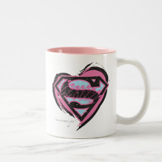 Supergirl Pink Logo in Heart Mugs