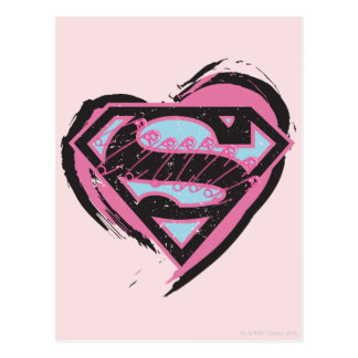 Supergirl Pink Logo in Heart Postcard
