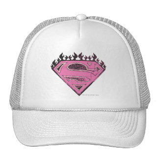 Supergirl Pink Logo with Flames Hat