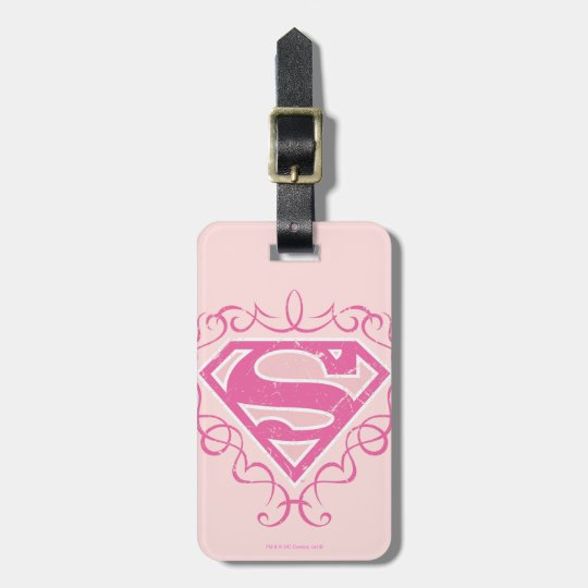 Supergirl Pink Stripes Luggage Tag