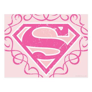 Supergirl Pink Stripes Postcard