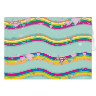 Supergirl Rainbow Waves Green Greeting Card