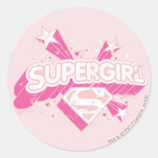 Supergirl Stars and Logo Round Sticker