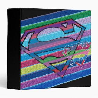 Supergirl Striped Rainbow Logo Vinyl Binder