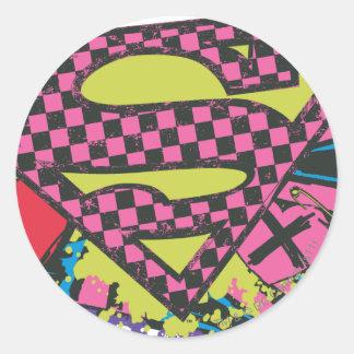 Supergirl X Round Sticker