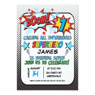 Superhero 7th birthday Party Invitation