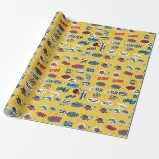 Superhero, Action Words, Sound Comic, yellow Wrapping Paper