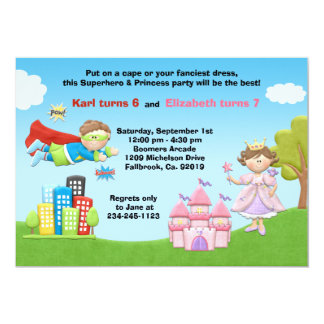 Superhero and Princess Birthday Party Invitation