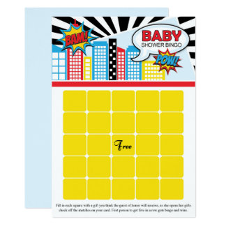 Superhero Baby Shower Bingo Cards