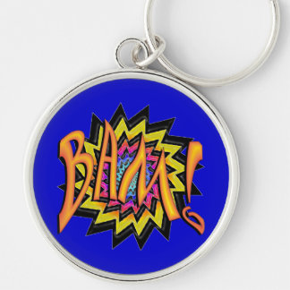 Superhero BAM! Silver-Colored Round Keychain