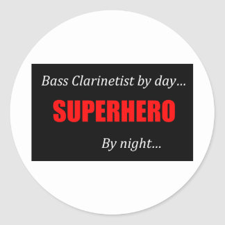 Superhero Bass Clarinet Classic Round Sticker