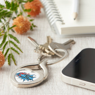 Superhero Becoming a Big Brother Silver-Colored Twisted Heart Keychain