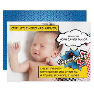 Superhero birth announcement card, SuperBABY blue