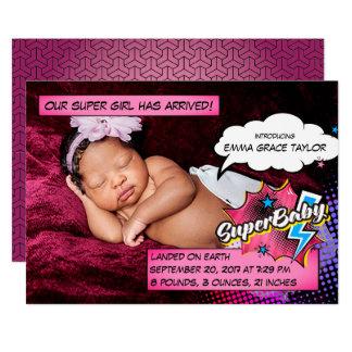 Superhero birth announcement card, SuperBABY pink