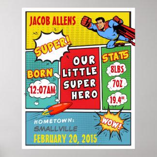 Superhero Birth Announcement - Wall Art