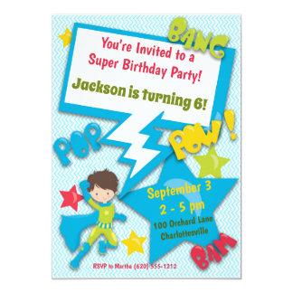 Superhero Birthday Invitation (Boy, Blue)