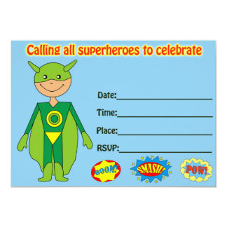 Superhero birthday invitation fill in blank