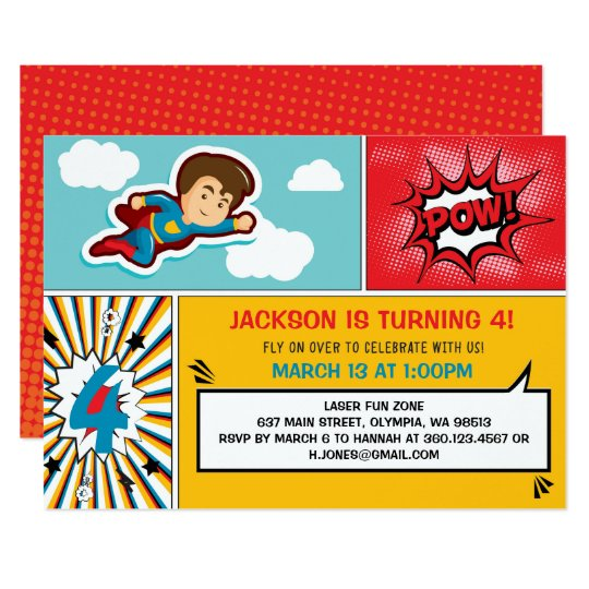 Superhero Birthday Party Invitation - Boy Colours