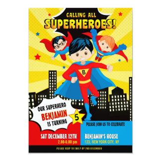 Superhero boy birthday party invitation