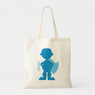 Superhero Boy Silhouette Personalized Blue Tote Bag
