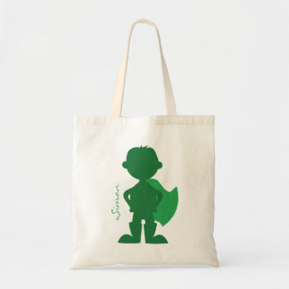 Superhero Boy Silhouette Personalized Green Tote Bag