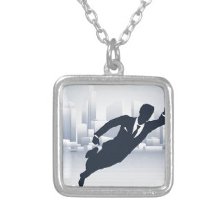 Superhero Business Man Silver Plated Necklace
