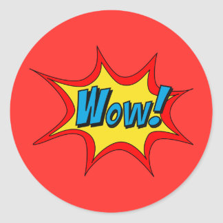 Superhero Callout Wow Teacher Reward Classic Round Sticker