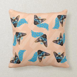 Superhero cat throw pillow