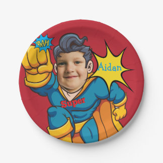 Superhero Child Custom Birthday 7 Inch Paper Plate