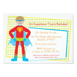 Superhero Childrens personalised party invitations