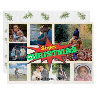 Superhero Christmas Speech Bubble Photo Collage Card