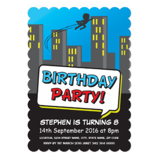 Superhero City Flying Kids Birthday Card