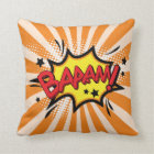 Superhero Comic Book Bam Cartoon Throw Pillow