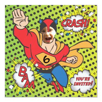 "Superhero comic book birthday party photo card 5.25"" square invitation card"