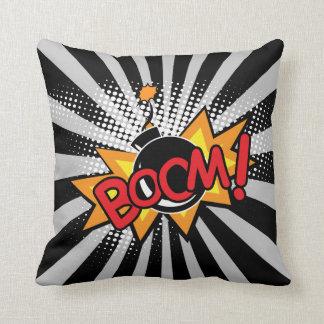 Superhero Comic Book Boom Bomb Cartoon Throw Pillow
