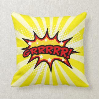 Superhero Comic Book Grrr Cartoon Throw Pillow