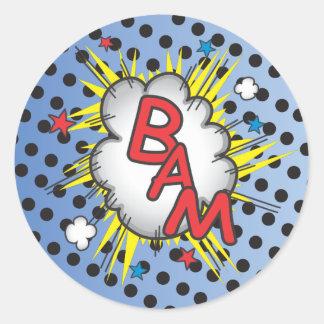 Superhero Comic Book Stickers, Bam! Classic Round Sticker