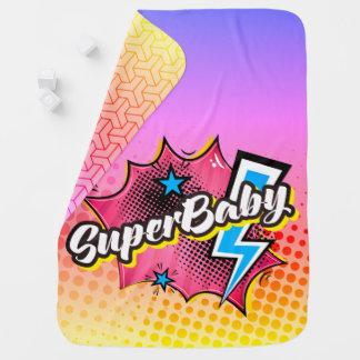 Superhero comic book SuperBABY blanket gift PINK Swaddle Blankets