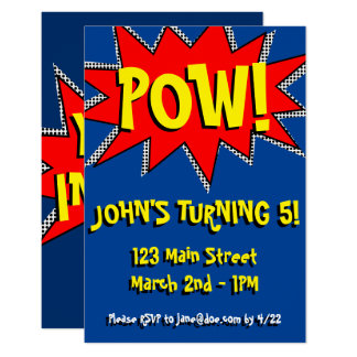 Superhero Comic Book Themed Invitation Template