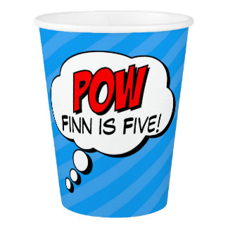 Superhero Custom Birthday Paper Cup - POW
