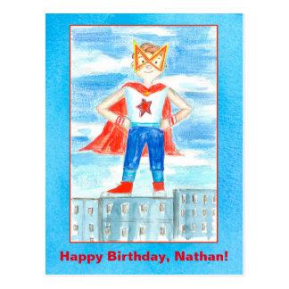 Superhero Custom Name Happy Birthday Postcard