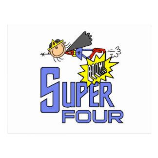 Superhero Girl 4th Birthday Tshirts and Gifts Postcard